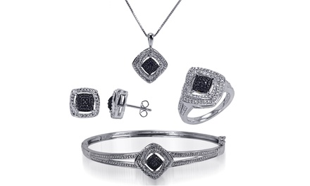 1/4 CTTW Black and White Diamond 4-PC Set