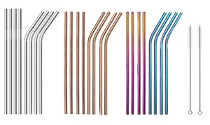 Stainless Steel Straws with 2 Cleaning Brushes (10-Pack)