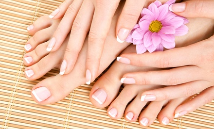Deluxe Manicure with Optional Spa Pedicure from Tina Chaffee at A Cut Ahead Salon (Up to 44% Off)