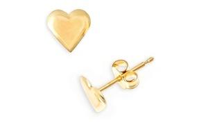 Heart Stud Earrings in 14K Gold: Heart Stud Earrings in 14K Gold