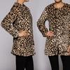 Collarless Leopard Print Coat