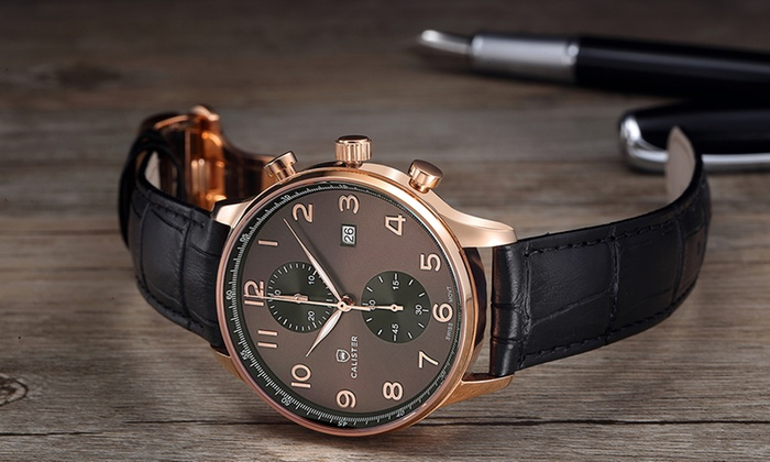Montre Chrono Suisse Cuir Italien   Groupon Shopping bb65502a5df