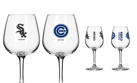 Set of 2 MLB Wineglasses. Multiple Teams Available. Free Returns.