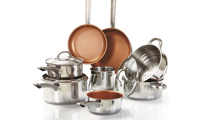 groupon goods global gmbh 11piece stainless steel and nonstick copper pan