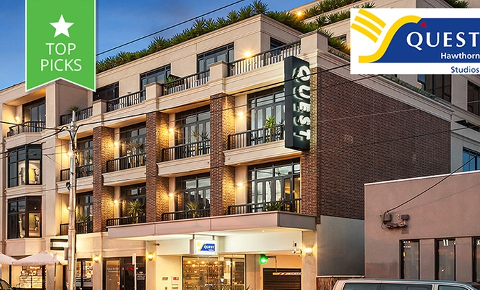 Melbourne: From $149 for a Studio Apartment Stay with Bottle of Wine, Late Checkout & Parking at Quest Hawthorn Studios