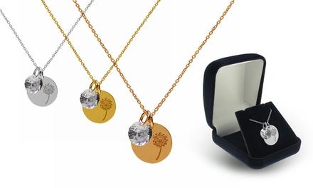 Um ou dois colares e pendentes com flor dente-de-leão disponíveis em três cores desde 14,90€