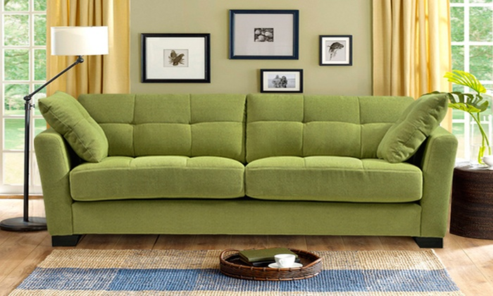 Regent 90 Tufted Microfiber Sofa With 2 Throw Pillows