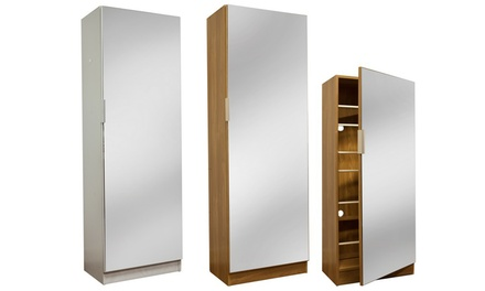 4ft or 5ft Mirrored Shoe Cabinet in Choice of Colour from £79 With Free Delivery (51% Off)