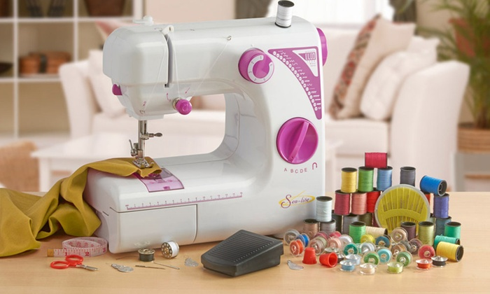 Sewing Machine with Accessories Groupon Goods Inspiration Beginners Sewing Machine Kit