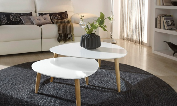 Lot de 2 tables d 39 appoint groupon for Groupon table basse