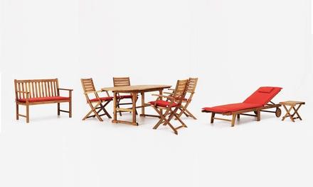 Sedie E Panche Da Giardino.Set Da Giardino Stones Malibu Con 4 Sedie Tavolo Ovale In Legno