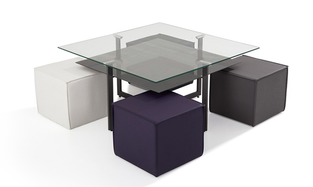 ensemble table basse 4 poufs pu multicolore groupon. Black Bedroom Furniture Sets. Home Design Ideas