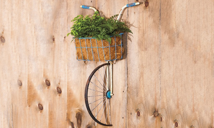 Front Basket Metal Bicycle Wall Decor And Planter