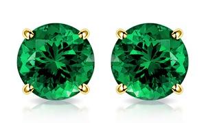 MUIBLU Gems 10K Yellow Gold 2.00 CTW Created Emerald Stud Earrings