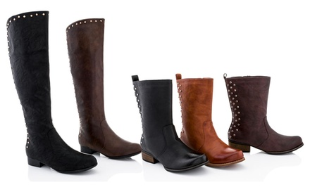Lady Godiva Vegan-Leather Riding Boots. Multiple Styles Available from $44.99–$49.99. Free Returns.