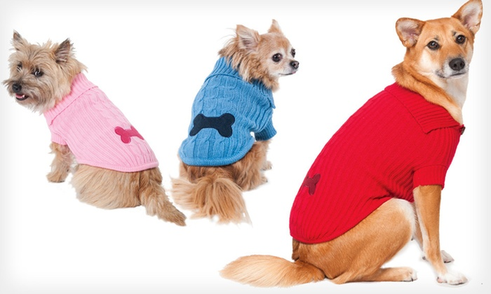 Lookin' Good! Dog Sweater: Lookin' Good! Bone Patch Dog Sweater (Up to Half-Off). Multiple Sizes and Colors Available. Free Returns.