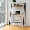 Nhieu Walnut-Finish Computer Desk and Shelf