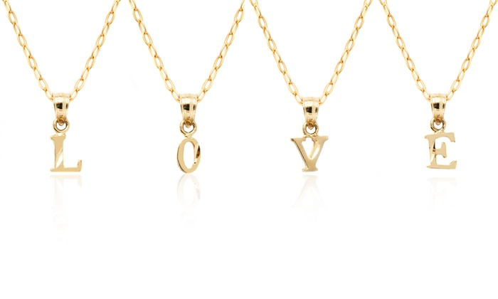 10k solid gold initial pendant 10k solid gold diamond cut initial 10k solid gold diamond cut initial pendant with chain aloadofball Choice Image