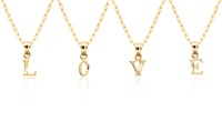 GROUPON: 10K Solid Gold Diamond-Cut Initial Pendant with Chain 10K Solid Gold Diamond-Cut Initial Pendant with Chain