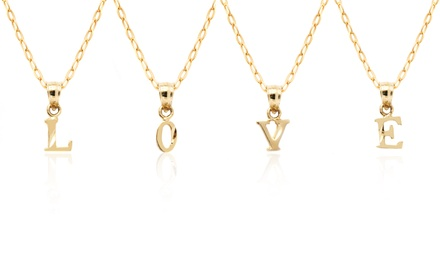 10K Solid Gold Diamond-Cut Initial Pendant with Chain
