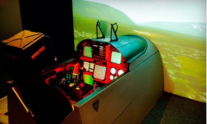 Air Combat Zone - Mississauga: Standard- or Double-Duration Mission in F-18 Fighter Jet Flight Simulators for Two at Air Combat Zone (51% Off)