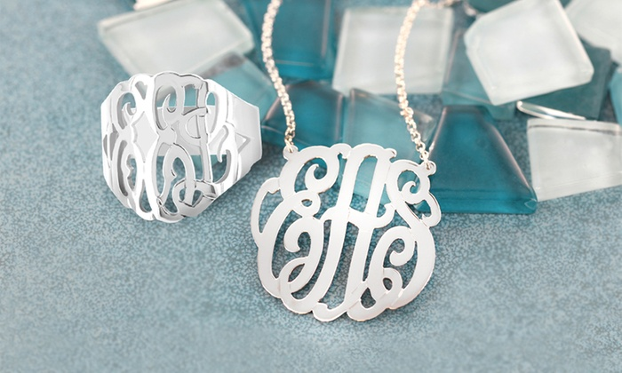 Monogram Online: $50 for a Silver Personalized Monogram Necklace and Ring Set from Monogram Online ($169 Value)