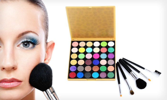Beauté Basics 36-Color Eye Palette with Travel Brush Set: $14.99 for a Beauté Basics 36-Color Shimmer Eye Shadow Palette with Five Mini Brushes ($89 List Price)