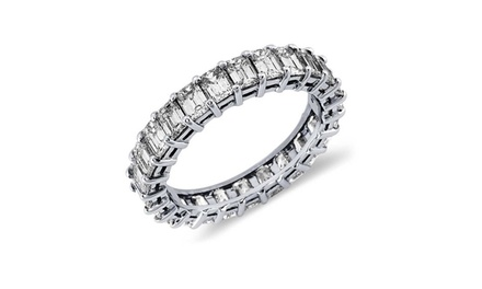 Emerald Cut Cubic Zirconia Eternity Ring in 18K White Gold