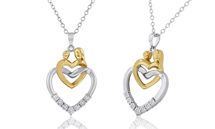 DiAura Two-Tone Mother-Child Design Diamond Accent Heart Pendant Necklace In Sterling Silver