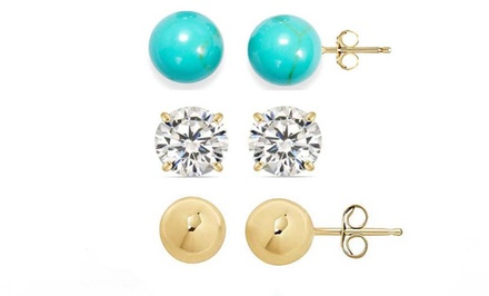 3-Pack of Stud Earrings in 14K Gold