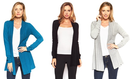 Women's Pleated Open Front Cardigans