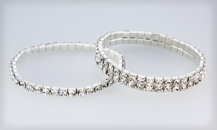 Bracelets with Swarovski Crystals: Single- or Double-Row Bracelets with Swarovski Crystals (Up to 67% Off)