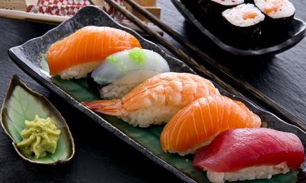 Menú para llevar con entrante, bandeja de 22 o 44 piezas de sushi y botella de vino desde 19,95 € en Sushiya