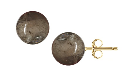 4.00 CTW Smoky Quartz Ball Stud Earrings in 14K Gold