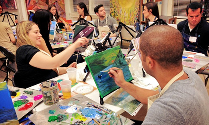 The Art Studio NY - Manhattan: One or Three Art Classes with Complimentary Wine and Supplies Included at The Art Studio NY (Up to 57% Off)