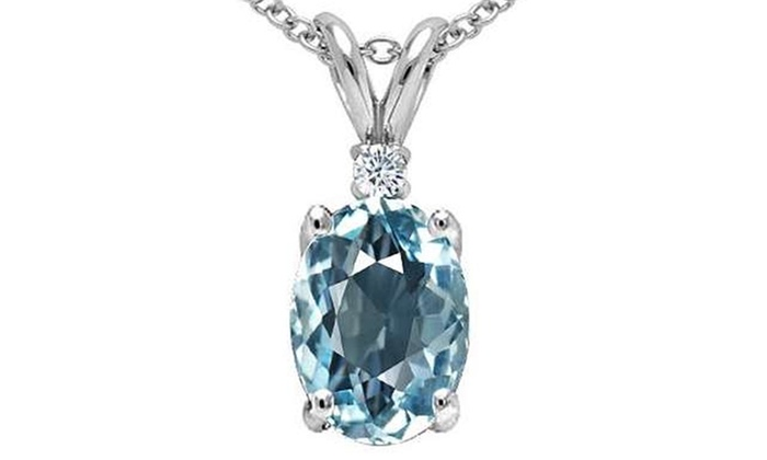 Diamond and aquamarine pendant groupon goods 25 ctw genuine diamond and aquamarine pendant in sterling silver mozeypictures