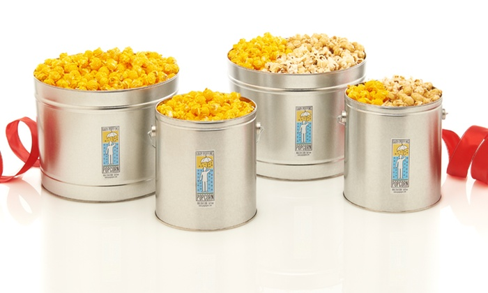 One- or Two-Gallon Popcorn Tins: Popcorn Tins with Cheddar Cheese or Caramel, Cheddar, and Kettle Corns; 1- or 2-Gallon Tins from $24.99—$34.99