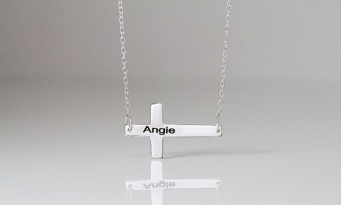 Monogramhub.com: $5 for a Sterling-Silver-Plated Horizontal Engravable Cross Necklace from MonogramHub ($44.99 Value)
