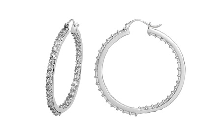 Created White Sapphire Inside-Out Hoop Earrings by Jewelili