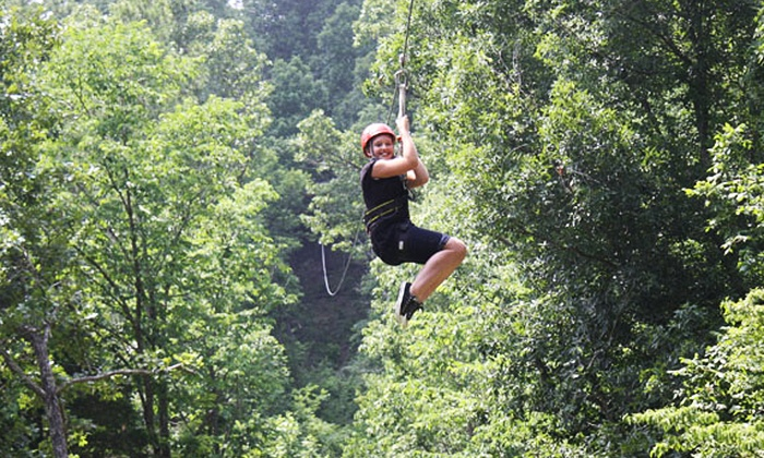 Mammoth Cave Adventures - Cave City: 90-Minute Zipline Tour and Drop Tower for One or Two at Mammoth Cave Adventures (Up to 50% Off)