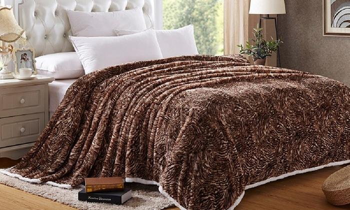 animal print sherpa blanket groupon goods