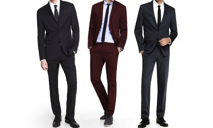 Men's Braveman Slim-Fit Two-Piece Suits with Free Dress Socks