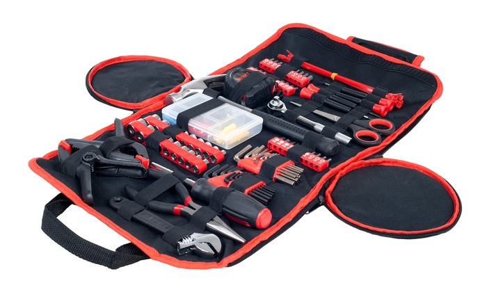 Household, Car, and Office Tool Kit in Roll-Up Bag (86-Piece)