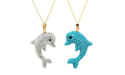 1 or 2 Crystal Dolphin Pendants with Swarovski Elements in 14K Gold
