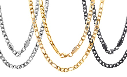 Men's Figaro or Curb Chain Necklace