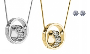 Heart-in-circle Pendant With Free 2.00 Cttw Swarovski Crystal Studs