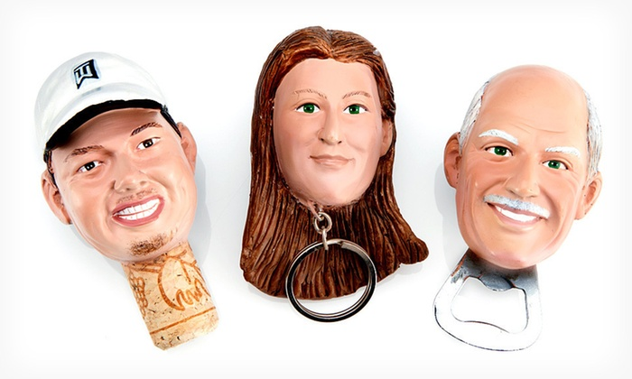 Custom Accessories: Custom Heads on Key Chains, Wine Stoppers, or Bottle Openers from AllBobbleHeads.com (Up to 71% Off). Free Shipping.