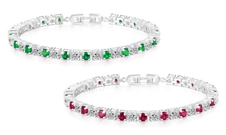 Philip Jones Simulated Emerald, Ruby or TwoPack of Both Bracelets