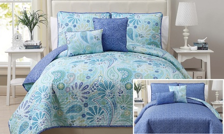 Harmony Five-Piece Reversible Quilt Set