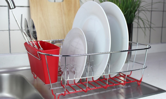 Compact Chrome-Plated Steel Dish Rack: Compact Chrome-Plated Steel Dish Rack. Multiple Colors Available. Free Returns.